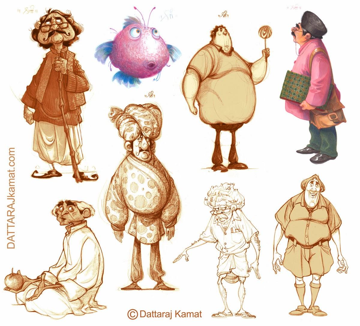 Animation Character Design Theory : Dattaraj kamat animation art february