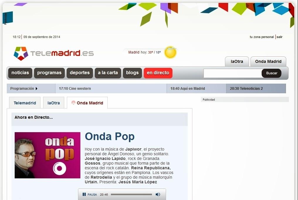 """09/09/2014 Programa """"Onda Pop"""" de Onda Madrid, en la web de TeleMadrid"""