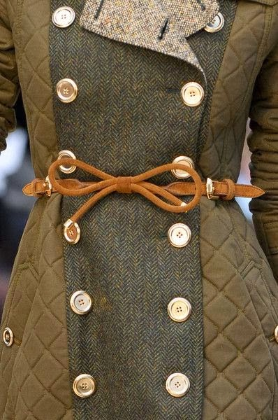 Stylish long coat with belt and buttons for fall