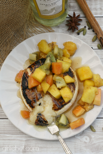 Grilled Brie with Tropical Fruit Compote by @girlichef