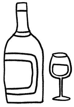 赤ワインのイラスト「ボトルとグラス」 白黒線画