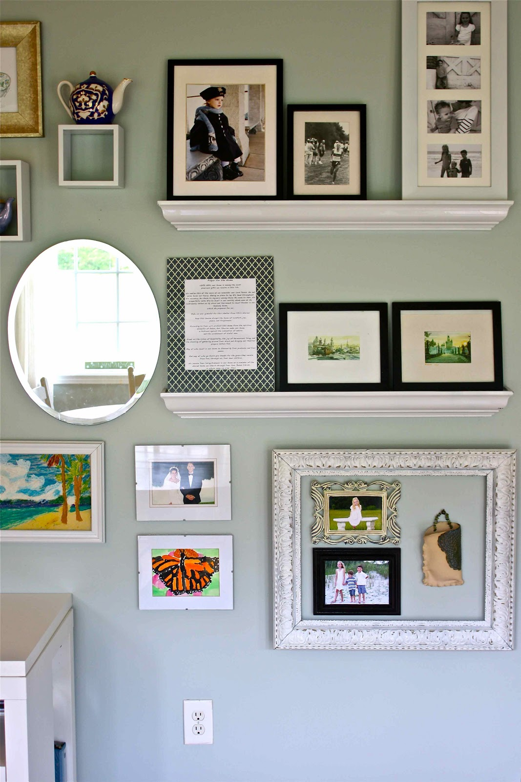Homes updates anatomy of a gallery wall group tiny things inside larger frames or on shelves scale is important our house is small but this room is huge it comprises two thirds of our house jeuxipadfo Choice Image