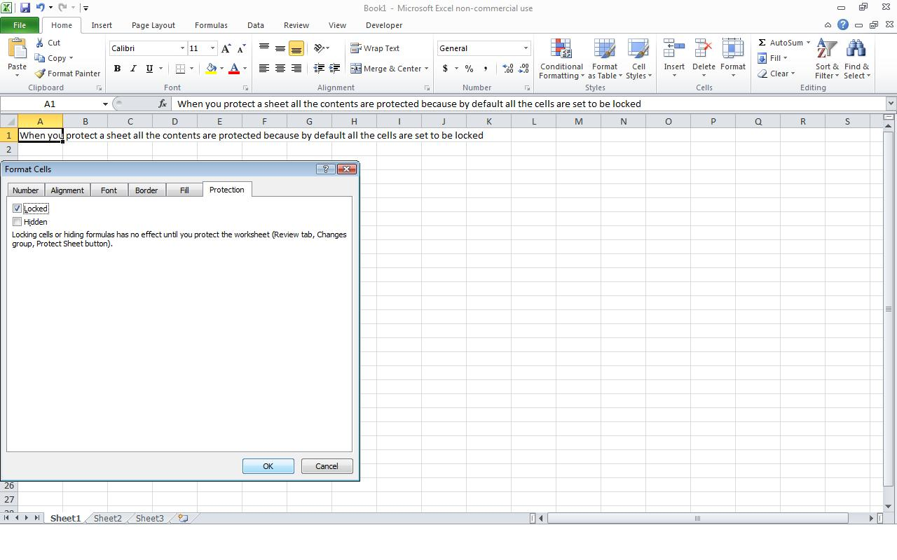 Power of excel how to protect a cell in excel for the locking of the cells to take effect you must also protect the worksheet to do this select the review tab from the toolbar at the top of the robcynllc Image collections