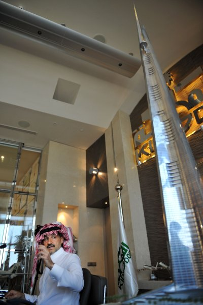Photo of Kingdom Tower model on revealing presentation