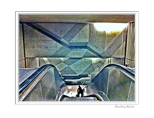 Escalator into the depths of the Metro. © SB Copyright Shelley Banks, all rights reserved.