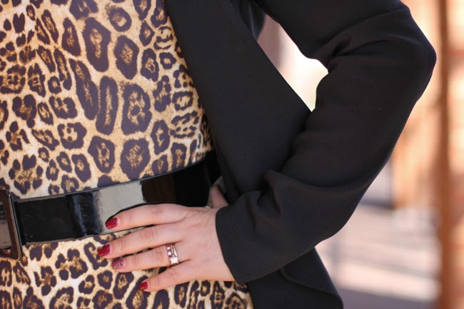 animal print dress with black blazer