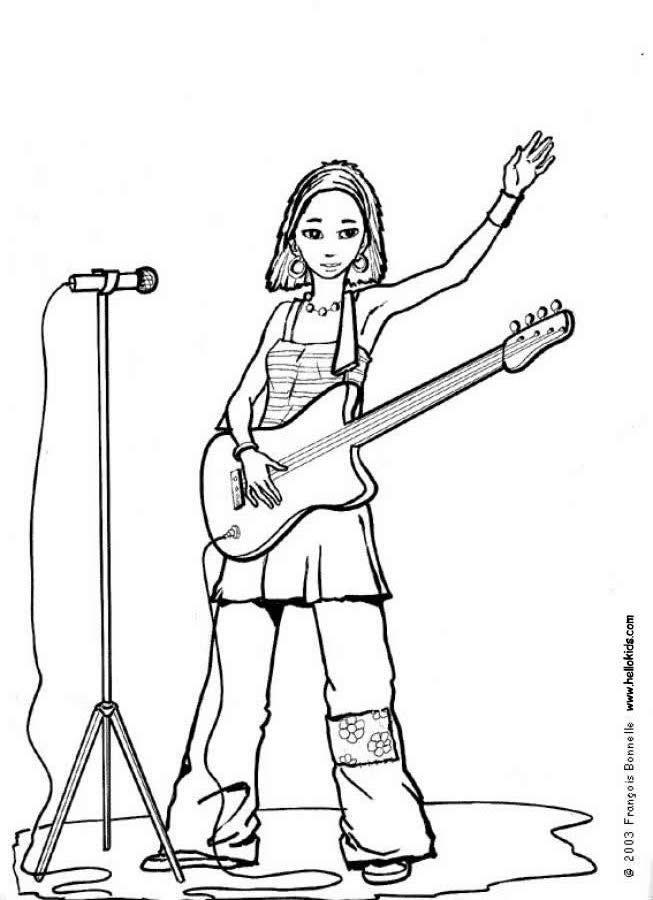 Rock Guitar Coloring Pages Rock Star Coloring Pages