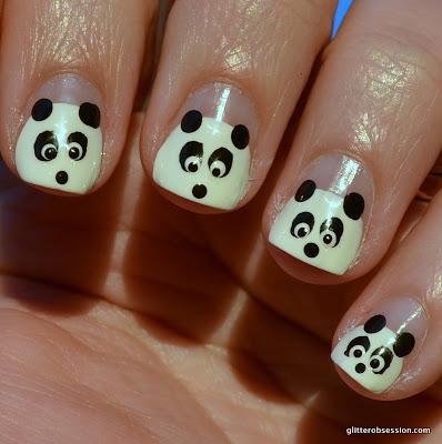 31dc2013, black, white, black and white, nail art, black and white nail art, pandas, pandas nail art, panda nail art, pandas nail design, nail design, panda nail desig