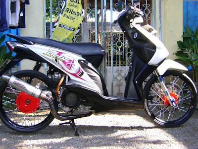 Modifikasi motor beat velg 17 putih