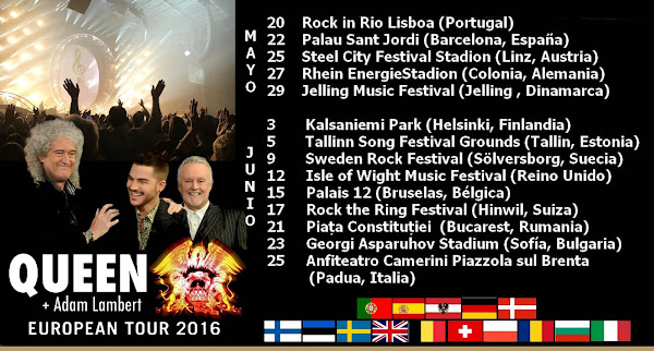QUEEN + ADAM LAMBERT GIRA EUROPA 2016 2o MAYO - 25 JUNIO