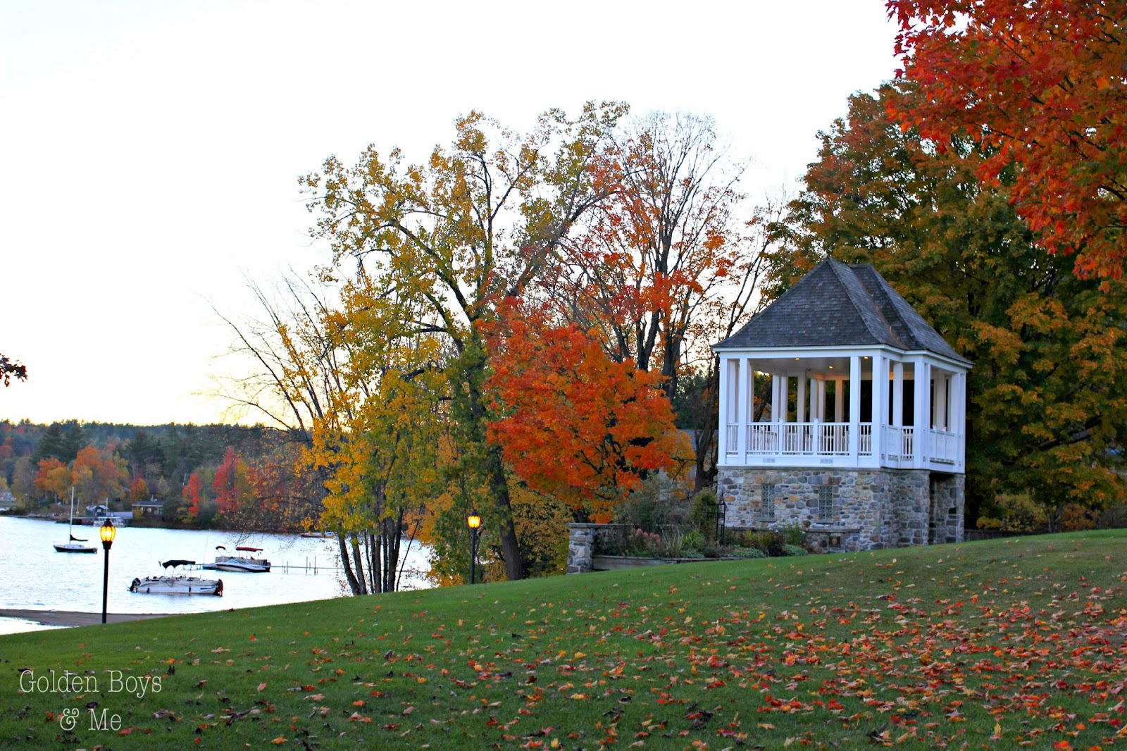 Gazebo in Schroon Lake NY with fall foliage on leaf peeping weekend-www.goldenboysandme.com