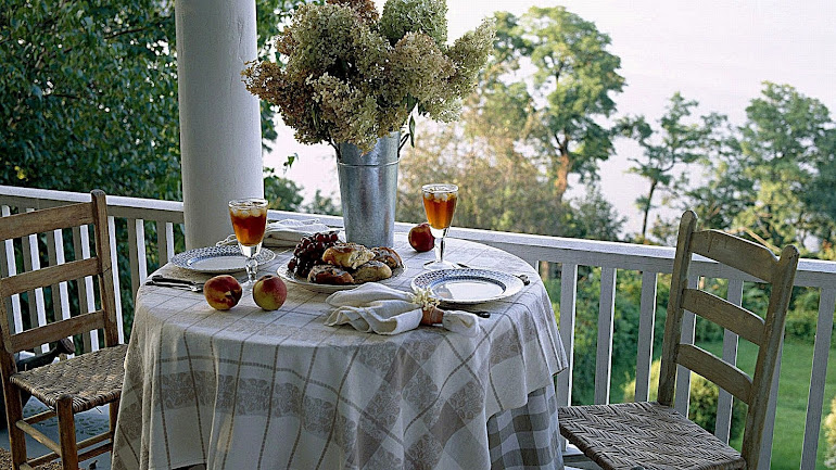 Interior Little table on a balcony