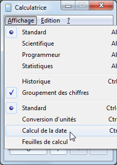 capture d'écran Windows - Calculatrice et calcul de dates