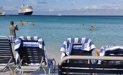 Holland America Eurodam ship docked at Half Moon Cay, Bahamas