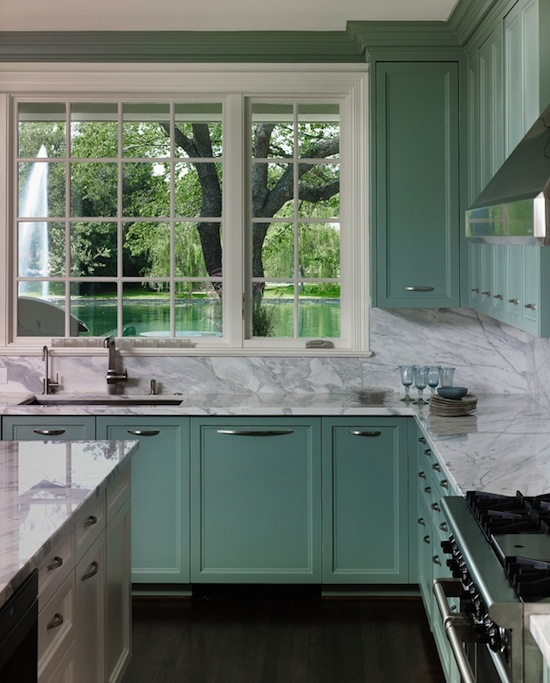 sea foam kitchen, white marble counters
