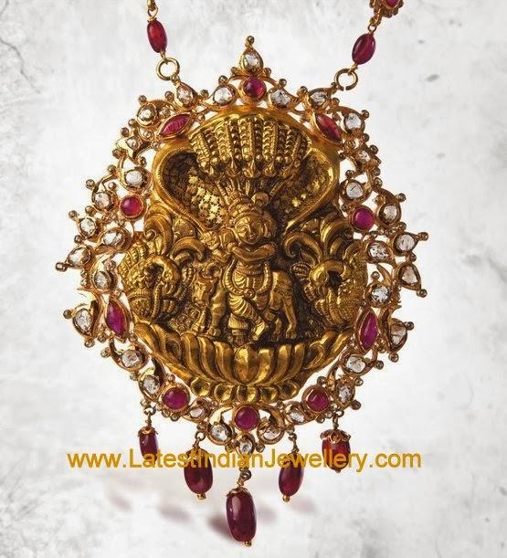 Antique Gold Krishna Pendant