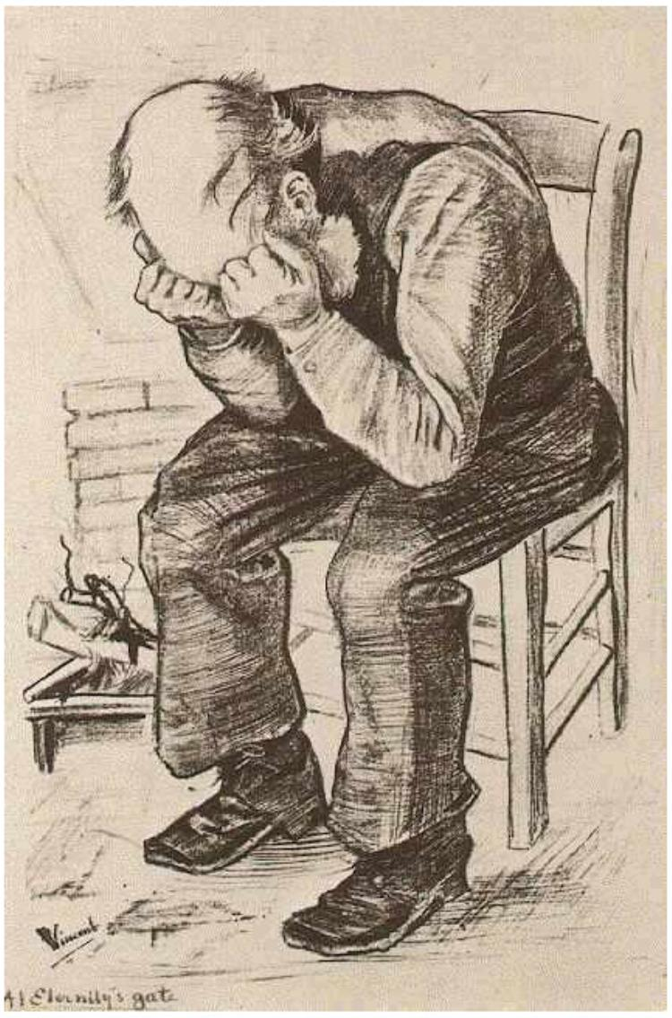 know justice vincent van gogh a life of beautiful sadness old man his head in his hands at eternity s gate graphic lithograph 1882