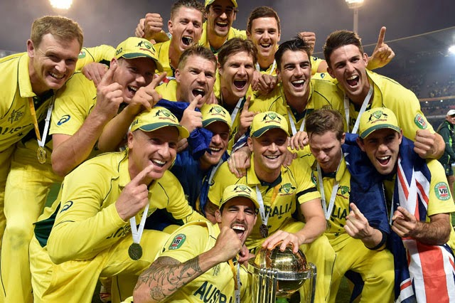 Australia team Celebrate with World Cup 2015 Trophy