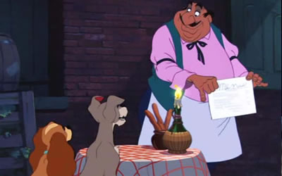 Italian dinner Lady and the Tramp 1955 animatedfilmreviews.blogspot.com