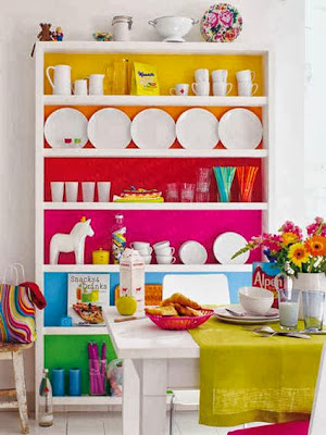 Interior brightly painted dresser