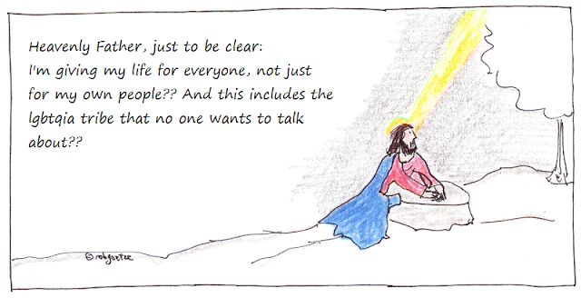 jesus prays - confirming that he's giving his life for lgbtqia. drawing by rob g