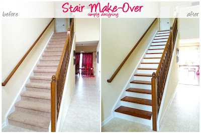 Staircase Make-Over | step by step instructions on how to rip up carpet and refinish wood stairs, including all the mistakes we made along the way | Simply Designing | #diy #decorating #homedecor #homeimprovement #homeprojects #tutorial #stairs #stain