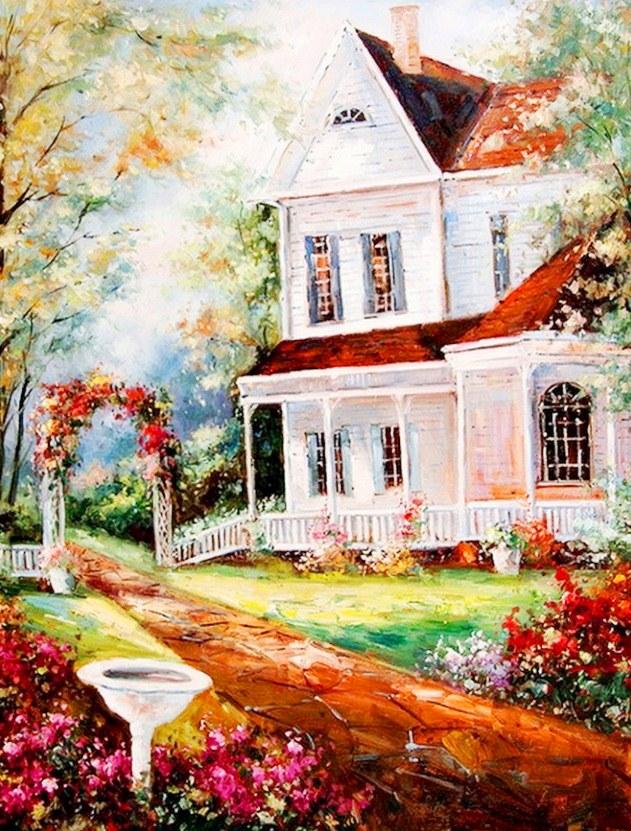 Im genes arte pinturas pinturas al oleo paisajes con casas - Paisajes de casas ...