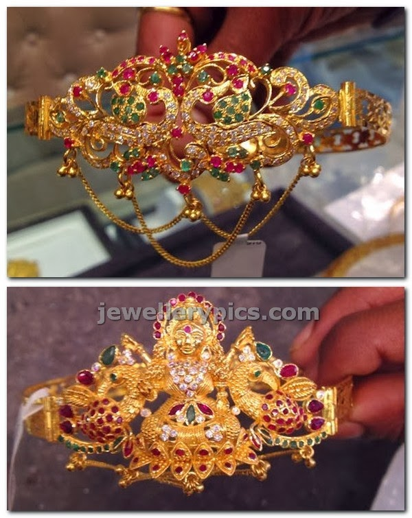 gold bajubandh armbands with gem stones