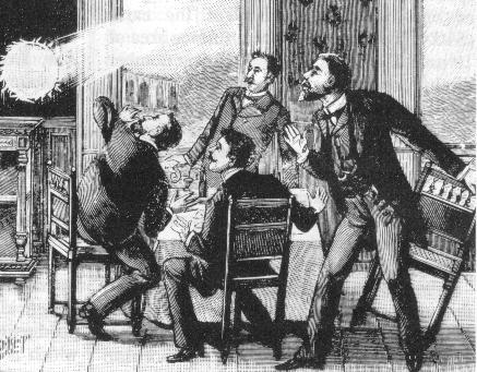 Incisione del 19 ° secolo raffigurante fulmine globulare