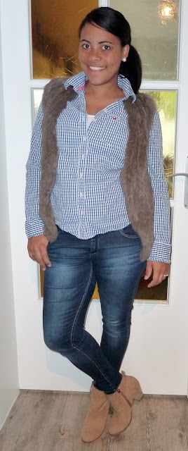Vest: ?, Shirt: Hollister, Jeans: Primark, Ankle Boots: s.Oliver