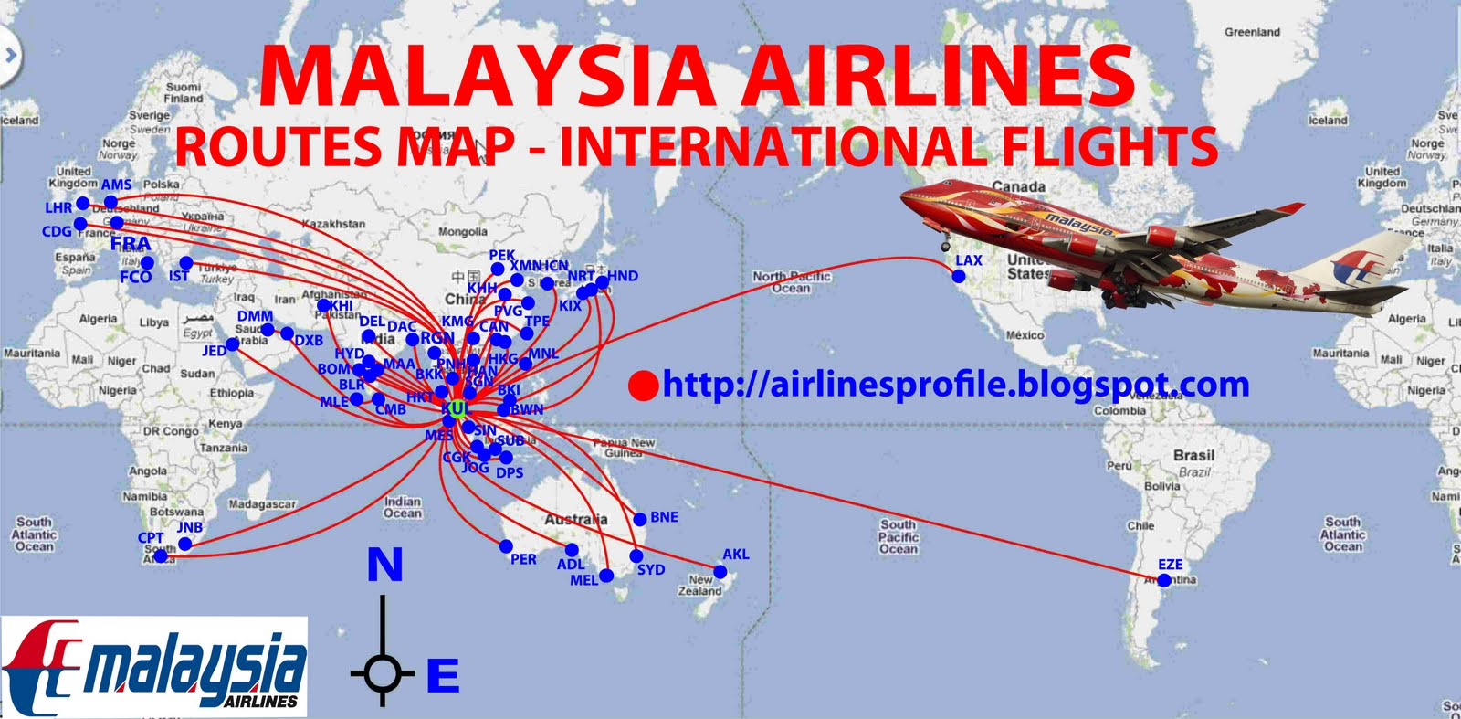 civil aviation: Malaysia Airlines routes map