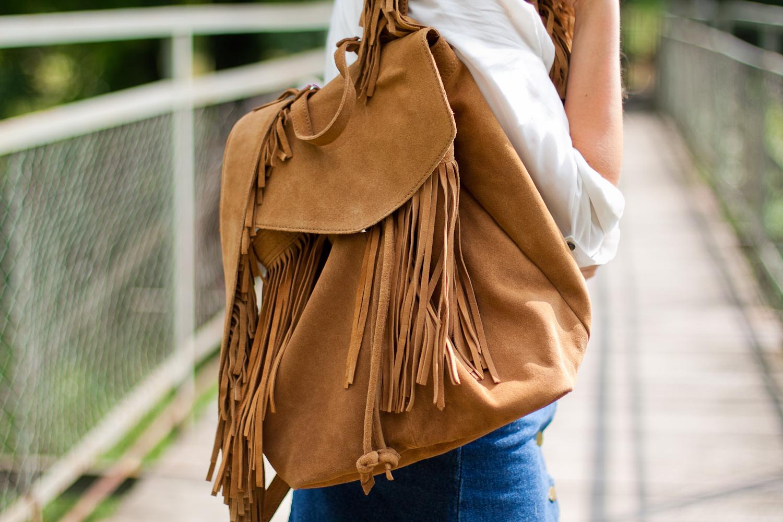 plecak z frędzlami brązowy zara