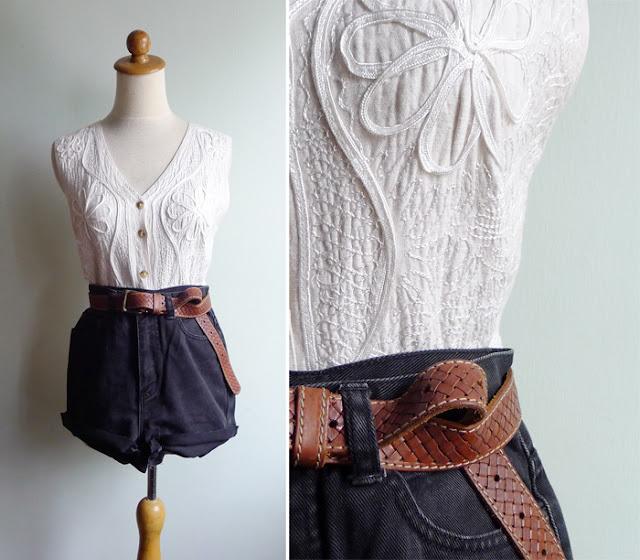 vintage linen soutache vest