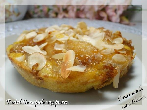 """Tartelette """"tôt fait"""" aux poires sans gluten"""