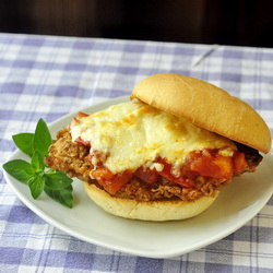 Chicken Parmesan Burgers on Parmesan Herb Buns with Chunky Fresh Tomato Compote