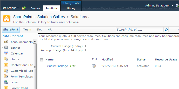 sandbox solution in sharepoint 2010
