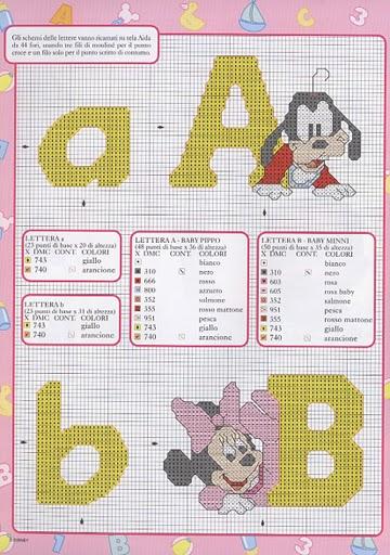 Punto croce disney babies 1 alfabeto for Schemi punto croce alfabeto disney