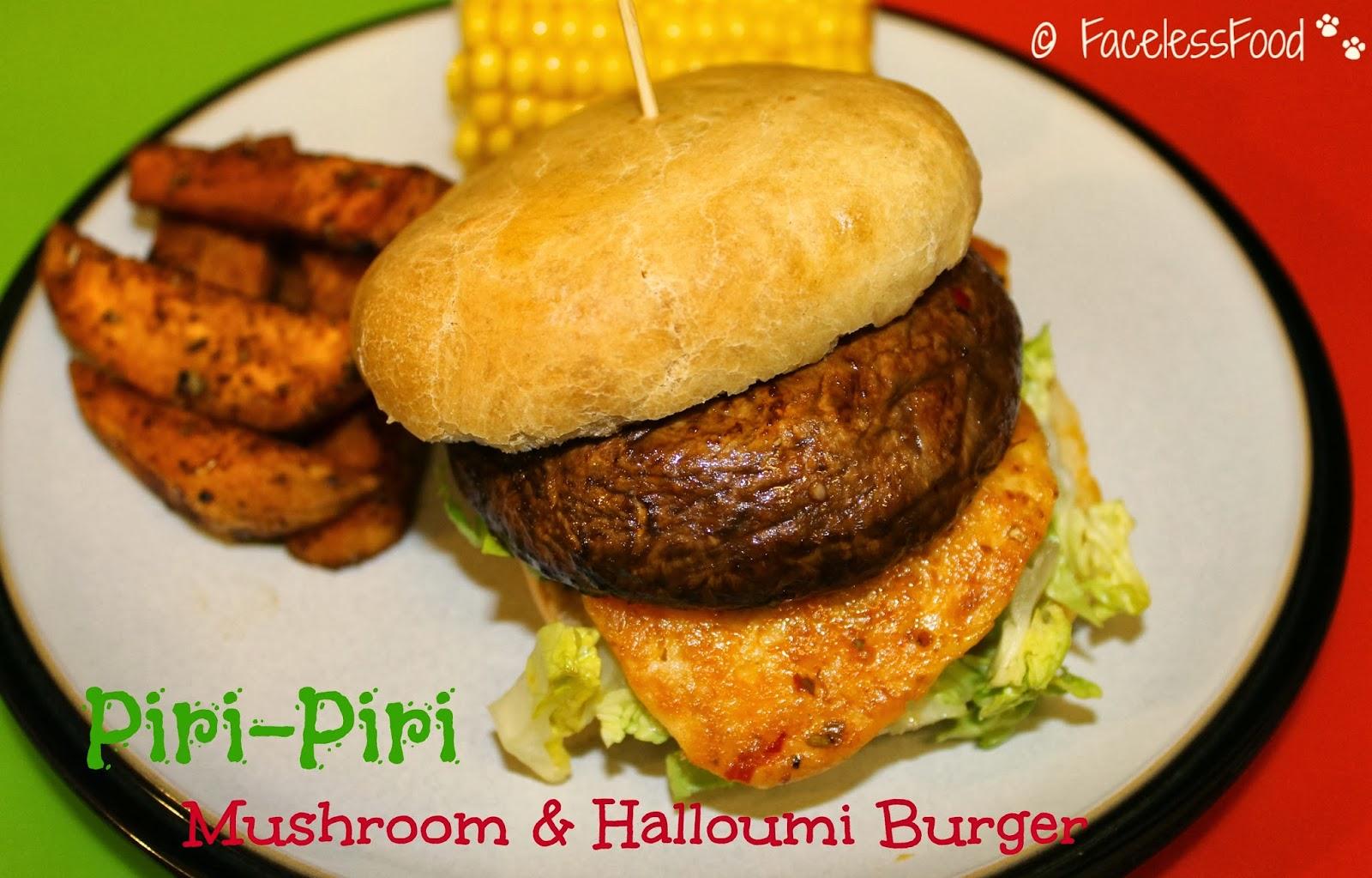 Piri-Piri Mushroom & Halloumi 'Burger'
