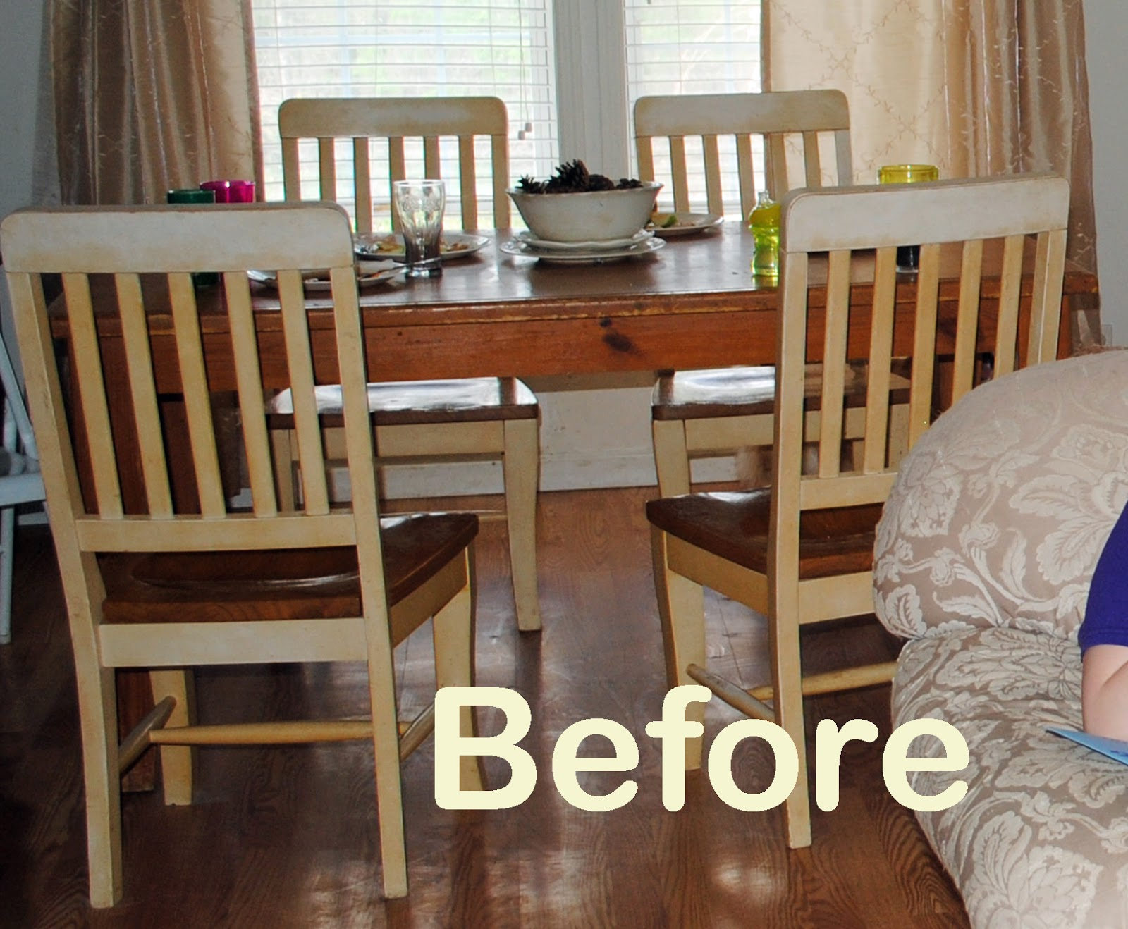 Runs with scraps refinish an old knotty pine dining table the story - Refinishing a kitchen table ...