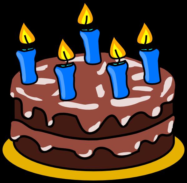 Desenho colorido Bolo de Aniversário com fundo transparente