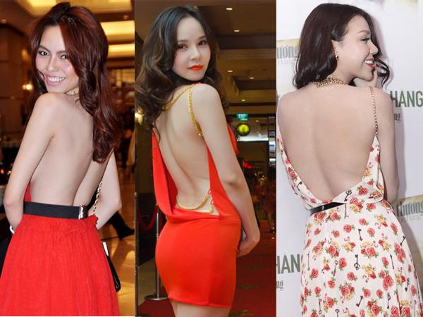 Sau Ngọc Trinh, nhiều người đẹp như: Trà Ngọc Hằng, Ngọc Bích, Vũ Hoàng Điệp... cũng chọn các kiểu váy khoe lưng để giúp mình gợi cảm hơn.