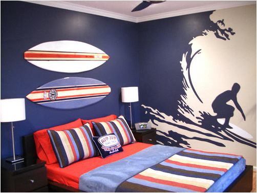Teen boys sports theme bedrooms room design inspirations - Boy bedroom decor ideas ...