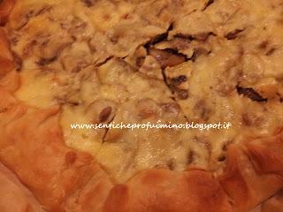 Torta salata con cotto funghi trifolati e formaggio