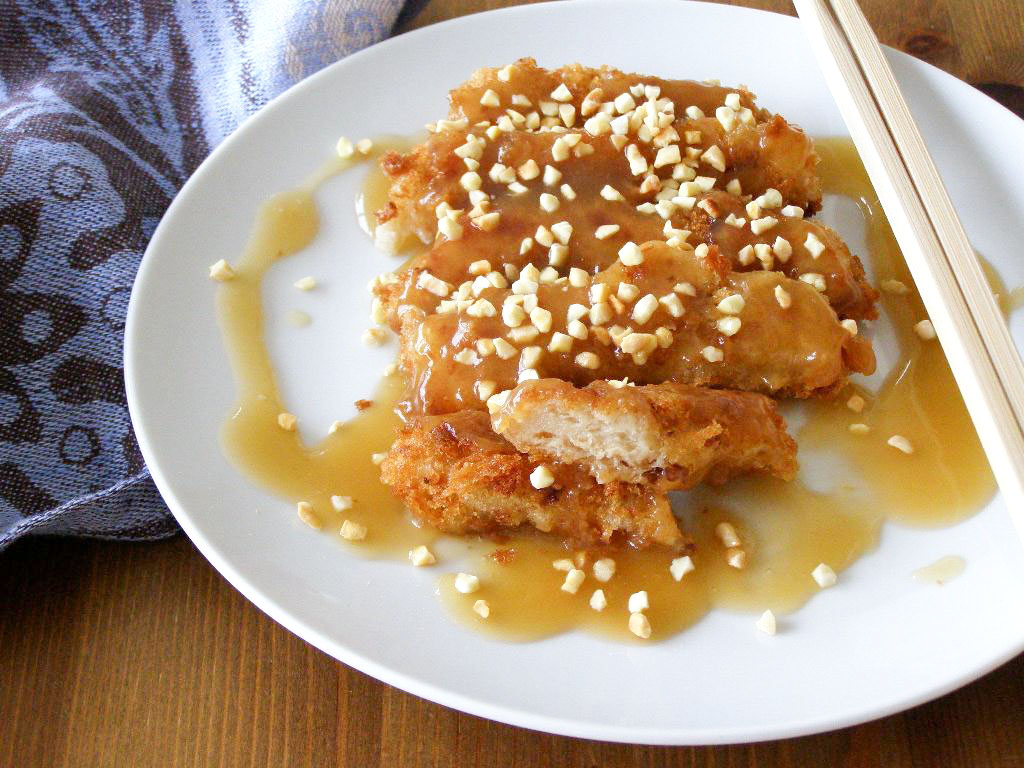 Crispy Fried Almond Chicken with Gravy (Soo Guy) - serves 2 as a side