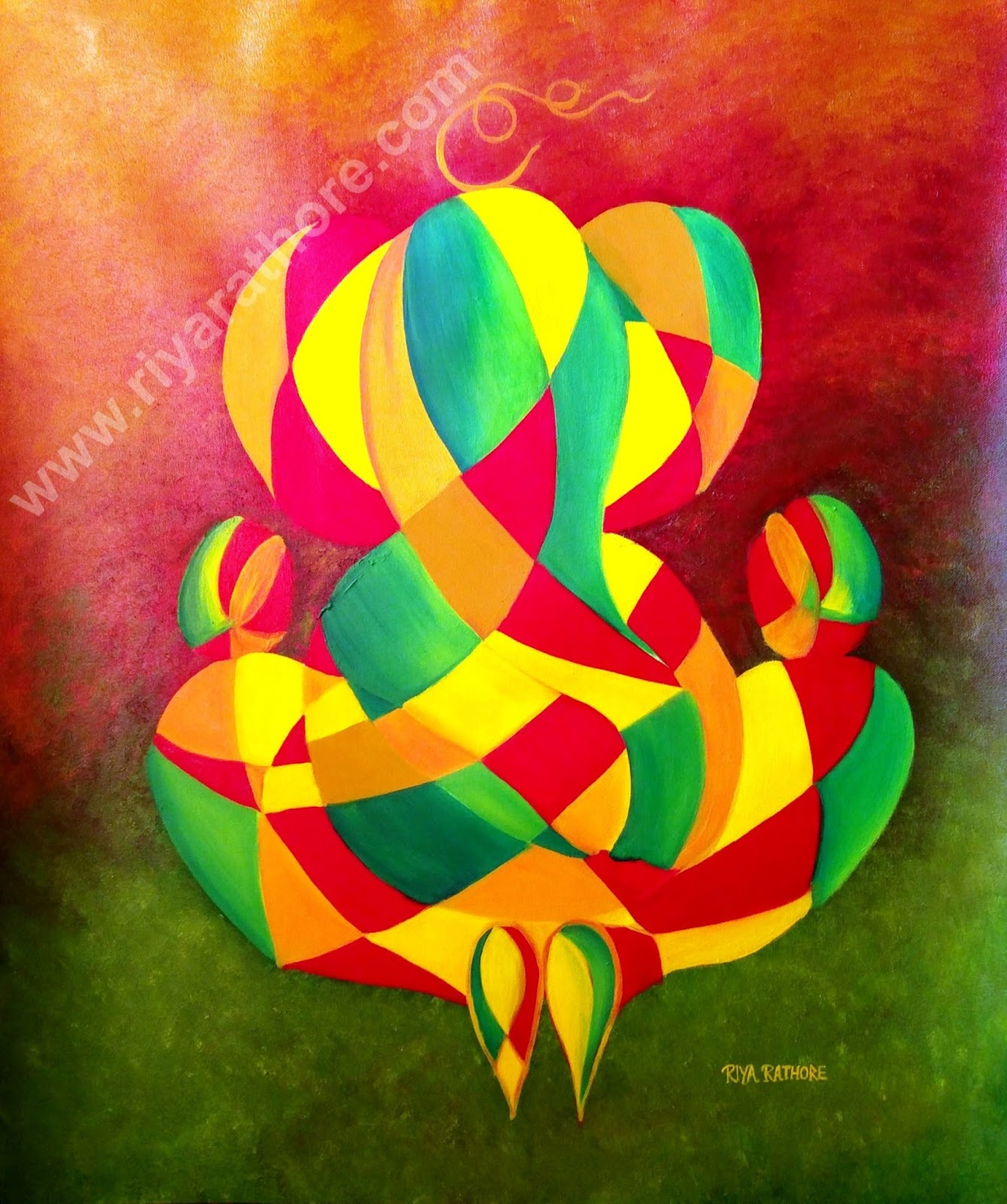 Lord ganesha multi color painting hd image - Lord Ganesha Ji Oil Painting Abstract Iii