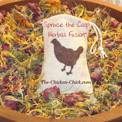 Spice it Up: Herb it up is closer to the point: add herbs to your chicken coop- fresh or dried. I make Spruce the Coop Herbal Fusion comprised of many insect-repellent herbs and sprinkle it in the nest boxes and coop.