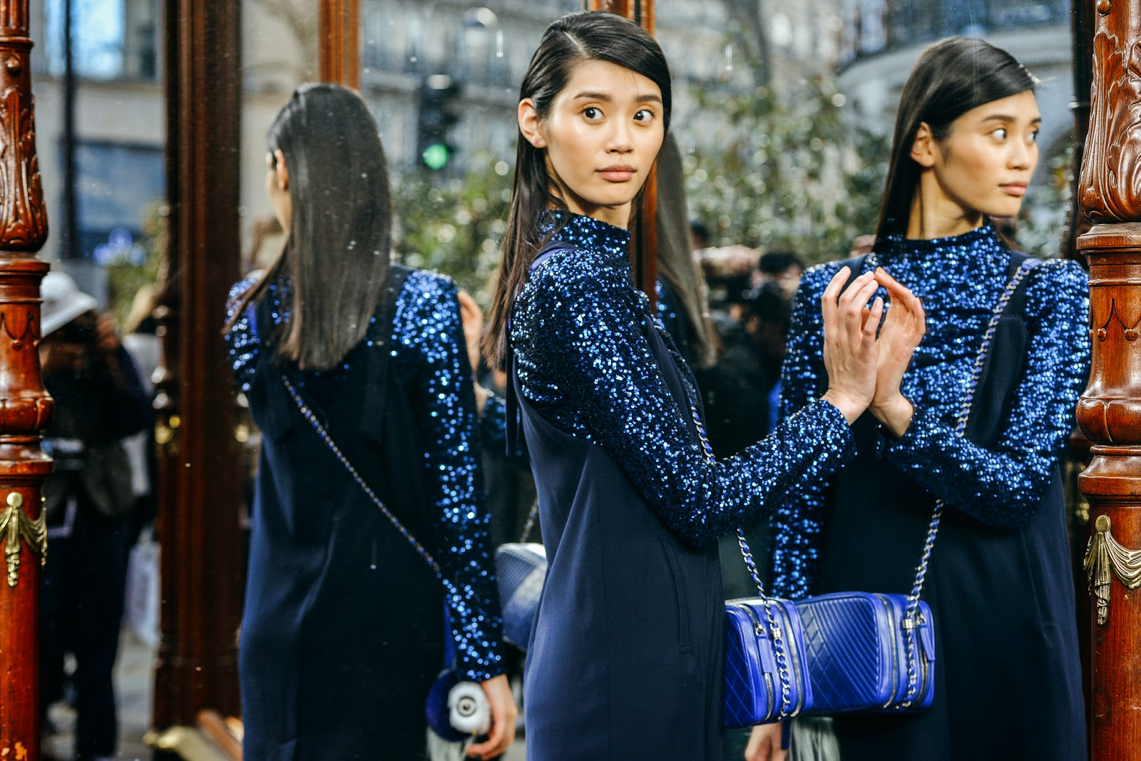 blue-long-sleeve-sequin-top-under-dress-paris-fashion-week-2015
