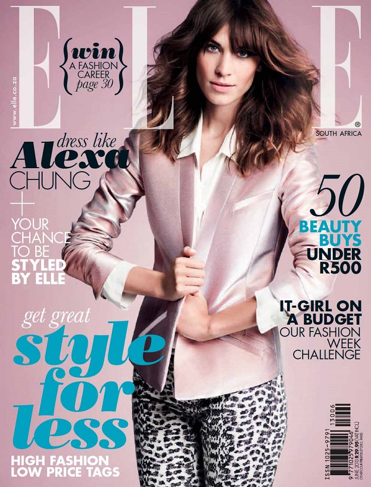 Alexa Chung for cover of Elle South Africa June 2013 ...