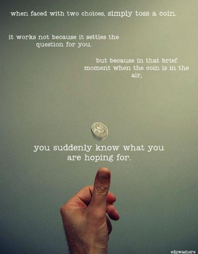 toss coin choices hope photo