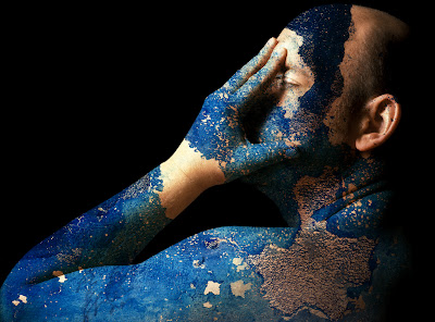 female nude photo effects, blue paint